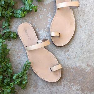 Madewell Cream Leather Minimalist Sandals